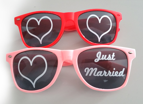 Lunette personnalisée mariage avec marquage direct sur les verres