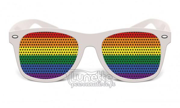 Lunette blanche drapeau Rainbow