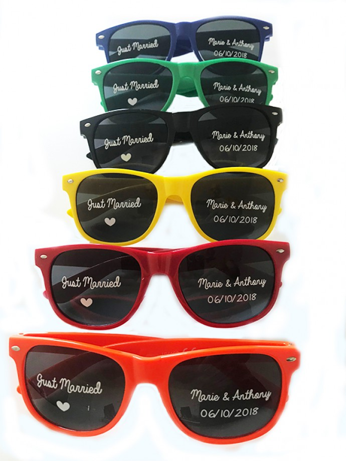 lunettes personnalisées avec marquage verres directs pour des futurs mariés