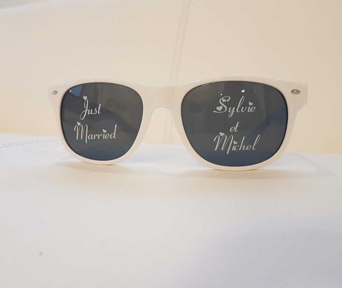 lunettes personnalisées just married sylvie et michel marquage verres direct