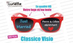 lunettes publicitaires visio montures rouges